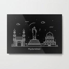 Hyderabad Minimal Nightscape / Skyline Drawing Metal Print