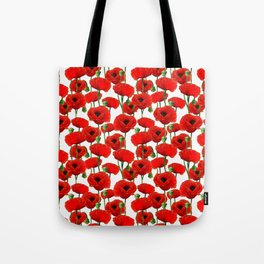 Red Poppy Pattern Tote Bag