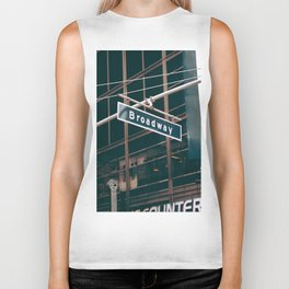 Broadway Street Sign (Color) Biker Tank