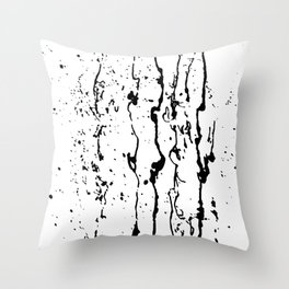 poured paint blots black and white Throw Pillow