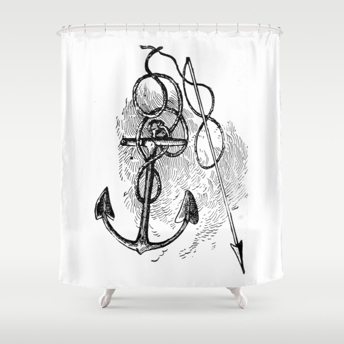 Anchor and harpoon. Shower Curtain