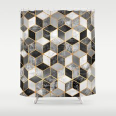 Black & White Cubes Shower Curtain