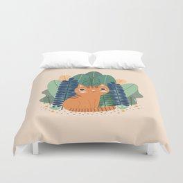 Orange Garden Cat Duvet Cover