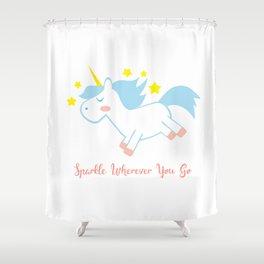 Sparkling Unicorn Shower Curtain