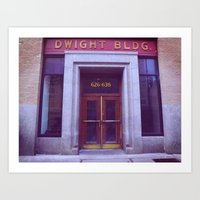 dwight Art Prints featuring Dwight Building  by Madison Daniels