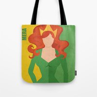 aquaman Tote Bags featuring Mera by Loud & Quiet