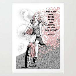 Life is like bycicle Art Print