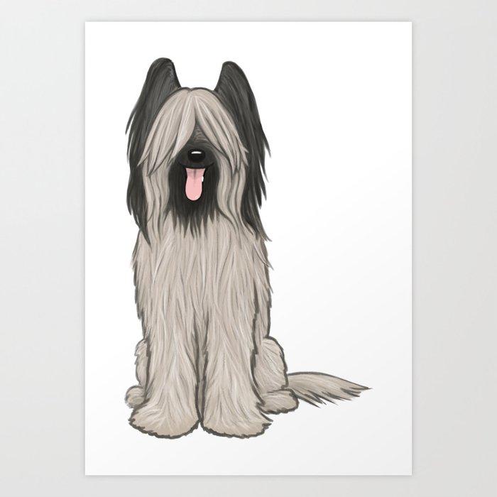 Cute Briard Cartoon Dog Art Print By Mylifeisacartoon Society6