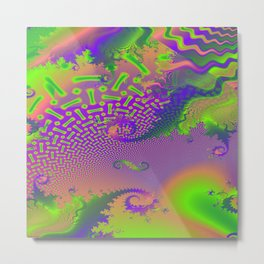 Interconnected Metallic Fractal Metal Print