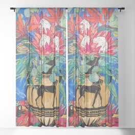 Tropical Protea Bouquet with Toucans in Greek Horse Urn on Ultramarine Blue Sheer Curtain