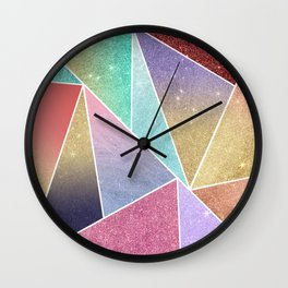 Modern elegant geometrical pink lilac gold glitter pattern Wall Clock