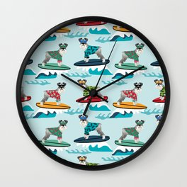 schnauzer surfing dog breed pattern Wall Clock