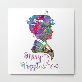 Mary Poppins Portrait Silhouette Metal Print