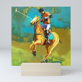 poloplayer abstract turquoise ochre Mini Art Print