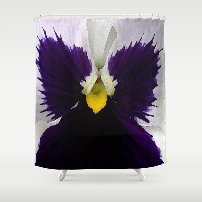 Watercolor of a white and purple pansy  Shower Curtain