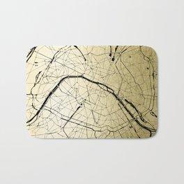Paris France Minimal Street Map - Gold on Black Bath Mat