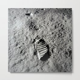 Boot Print on Moon Metal Print