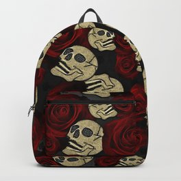 Red Roses & Skulls Grey Black Floral Gothic Backpack