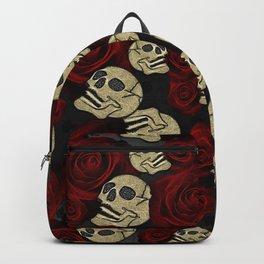 Red Roses & Skulls Grey Black Floral Gothic Backpack