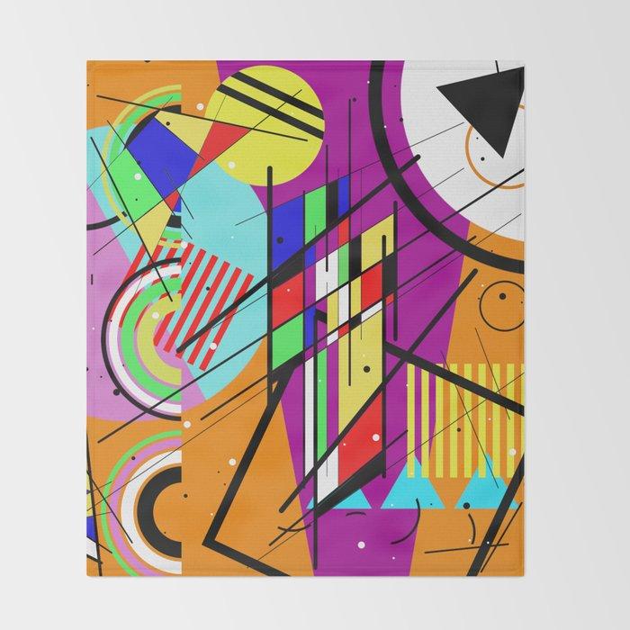 Crazy Retro 2 Abstract Geometric Random Collage Throw Blanket By Printpix Society6