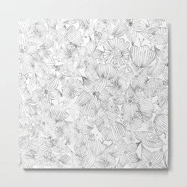 Hand painted black white watercolor tribal floral Metal Print