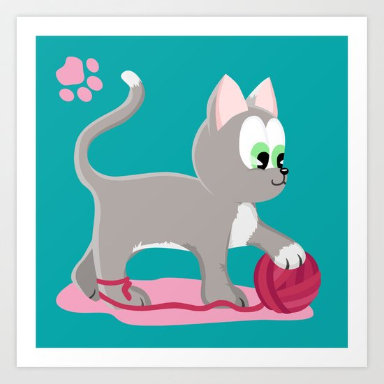 Kitten number 1 of 3 silver cats Art Print