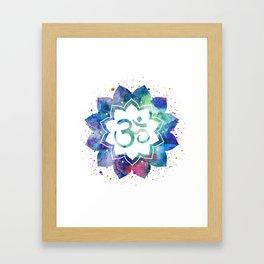 Om Sign Lotus Flower Framed Art Print