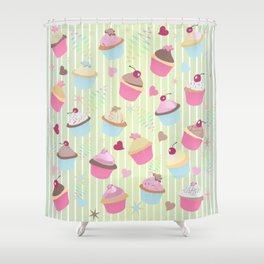 Cupcakes with love Shower Curtain