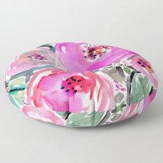 GARDENS OF BERKELEY Pink Watercolor Floral Floor Pillow