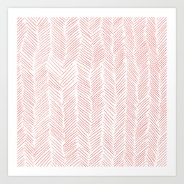 Living Coral Herringbone Art Print