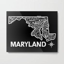 Maryland Map Metal Print