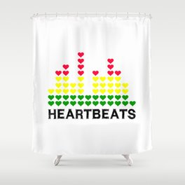 HeartBeats (Black) Shower Curtain