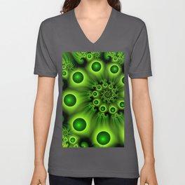 Green Fractal, Modern Spiral With Depth Unisex V-Neck