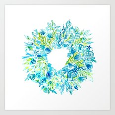 Seashell Wreath Art Print