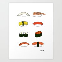 sushi Art Prints featuring Sushi by emi ito illustration
