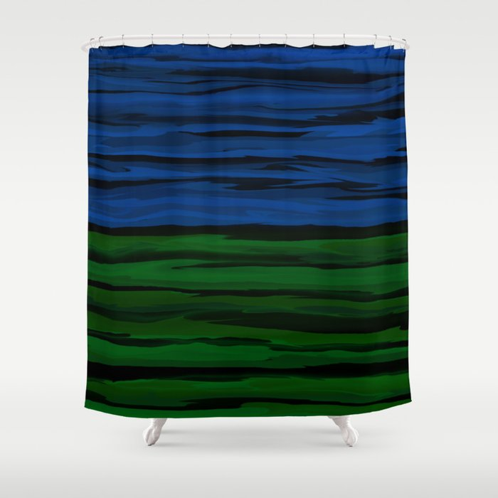 Emerald Green Slate Blue And Black Onyx Spilt Shower Curtain