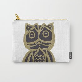 Owl Fun #3 #black #gold #drawing #decor #art #society6 Carry-All Pouch