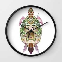 green mosaic turtle Wall Clock