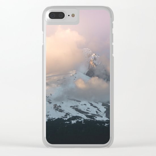Pink Fog Mountain Morning Clear iPhone Case