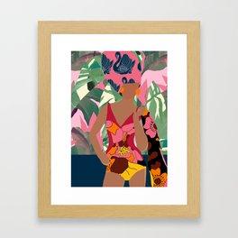 Jungle Pop! Swan Textile Collage Framed Art Print