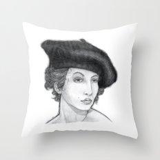 Woman Wearing Beret Throw Pillow