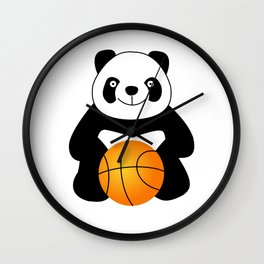 Panda with a basketball ball Wall Clock