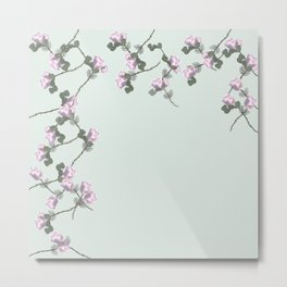 Roses Collage, green,pink, floral, flowers, leaves, botanical, pattern, decor, art, society6 Metal Print