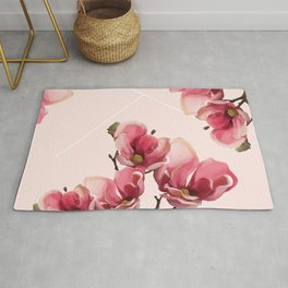 Pink Magnolia Blossoms Rug