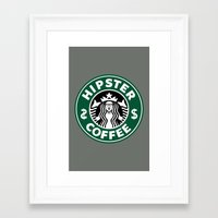 hipster lion Framed Art Prints featuring Hipster Coffee by REBEL -Lion
