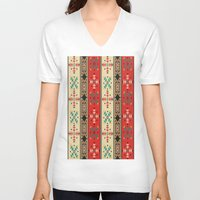 blanket V-neck T-shirts featuring Sioux Blanket by Robin Curtiss