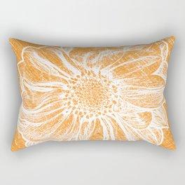 White Flower On Warm Orange Crayon Rectangular Pillow