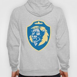 Angry Lion Head Roar Shield Retro Hoody