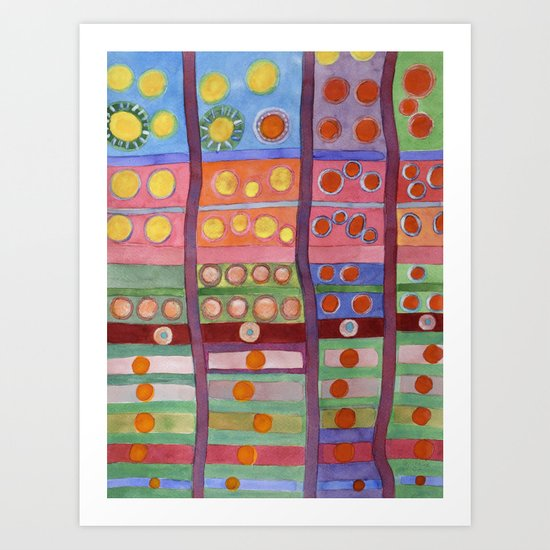 Colorful Grid Pattern with Numerous Circles Art Print