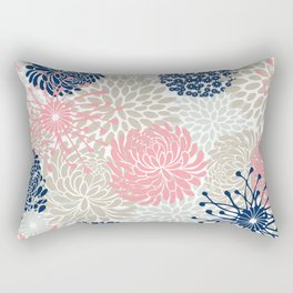 Floral Mixed Blooms, Blush Pink, Navy Blue, Gray, Beige Rectangular Pillow